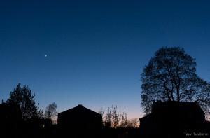 Kuu ja Veenus linna kohal